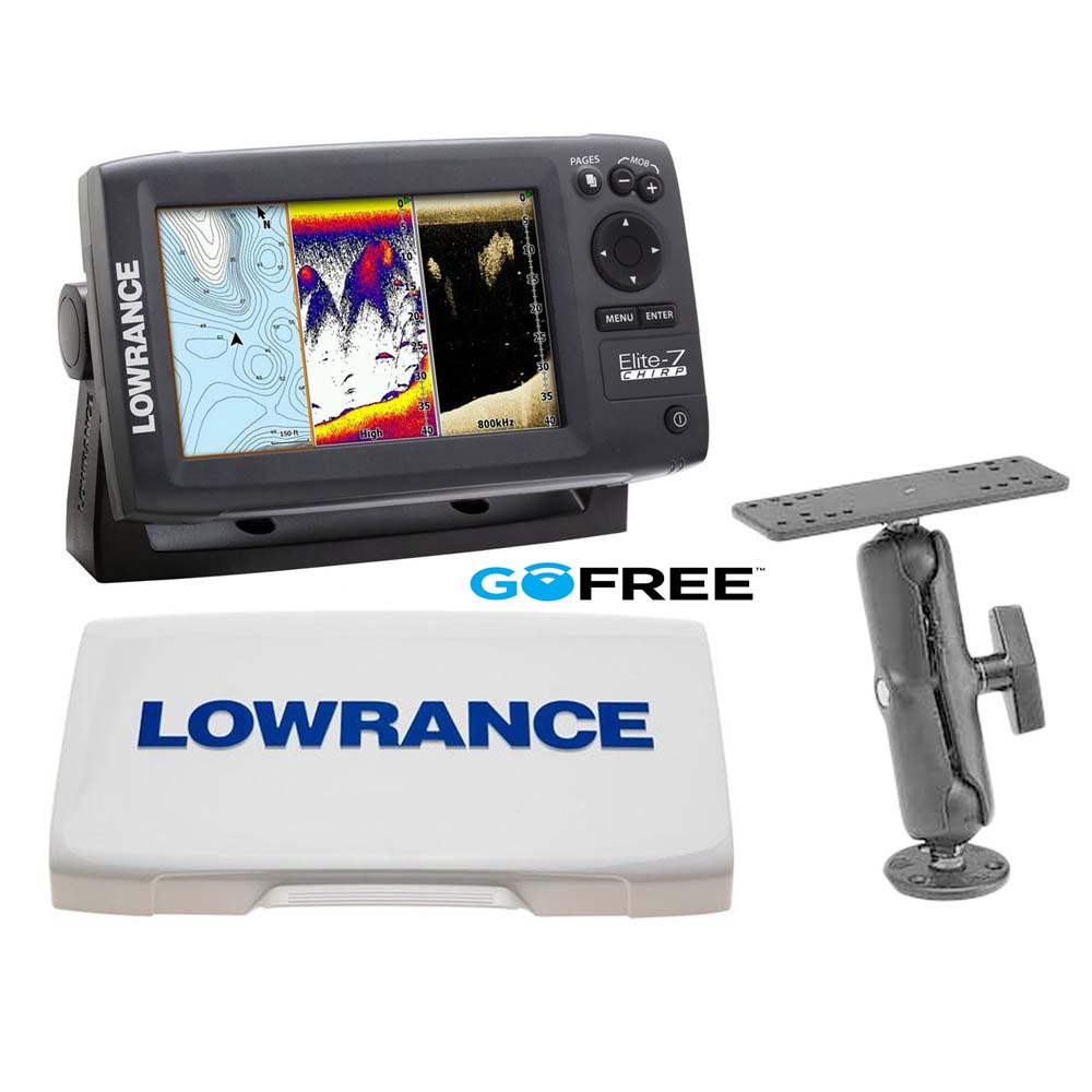 Lowrance elite 7 chirp with sun cover and ram mount buy for Lowrance hook 7 trolling motor mount